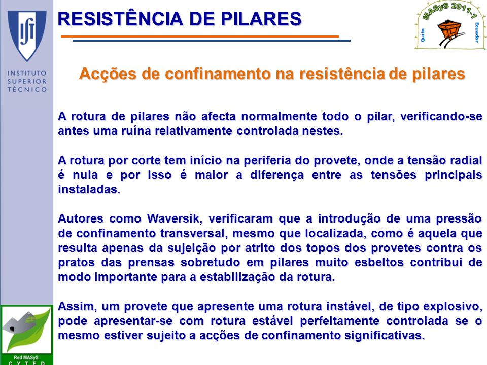 Acções de confinamento na resistência de pilares