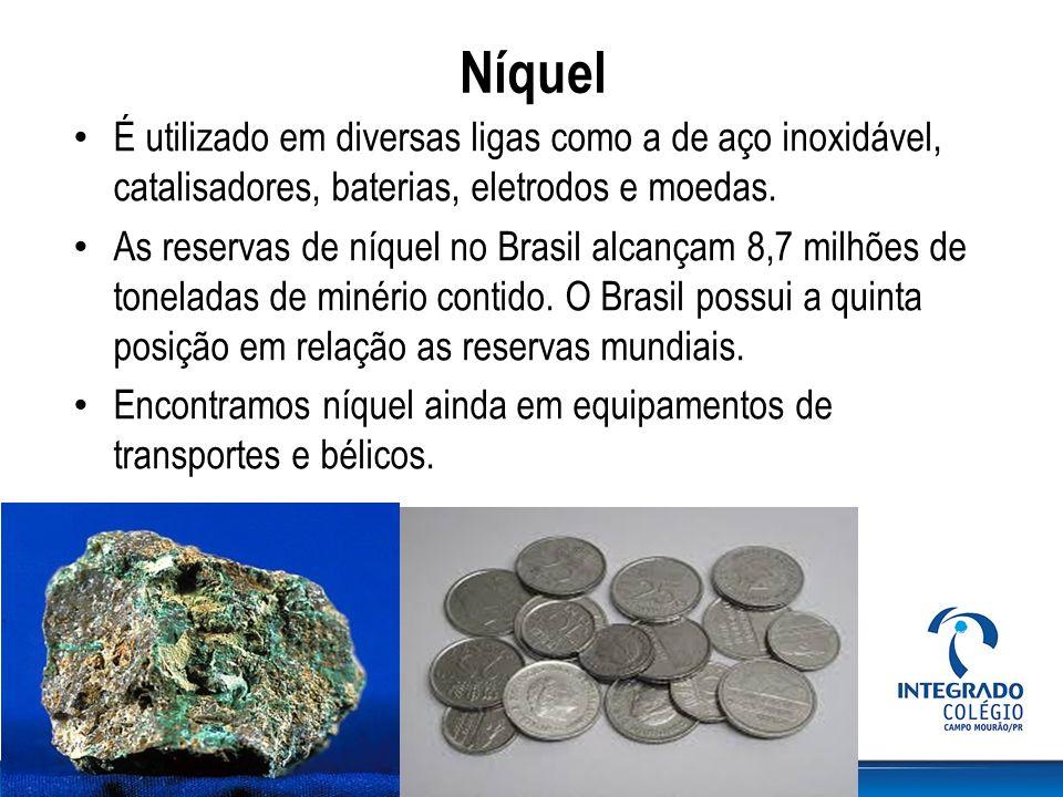 Níquel É utilizado em diversas ligas como a de aço inoxidável, catalisadores, baterias, eletrodos e moedas.