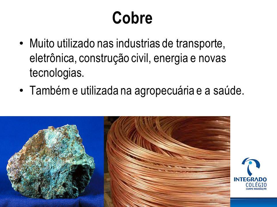 Cobre Muito utilizado nas industrias de transporte, eletrônica, construção civil, energia e novas tecnologias.