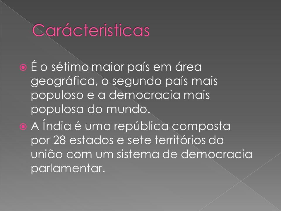 Carácteristicas É o sétimo maior país em área geográfica, o segundo país mais populoso e a democracia mais populosa do mundo.