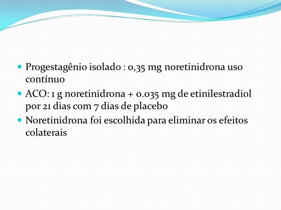 Progestagênio isolado : 0,35 mg noretinidrona uso contínuo