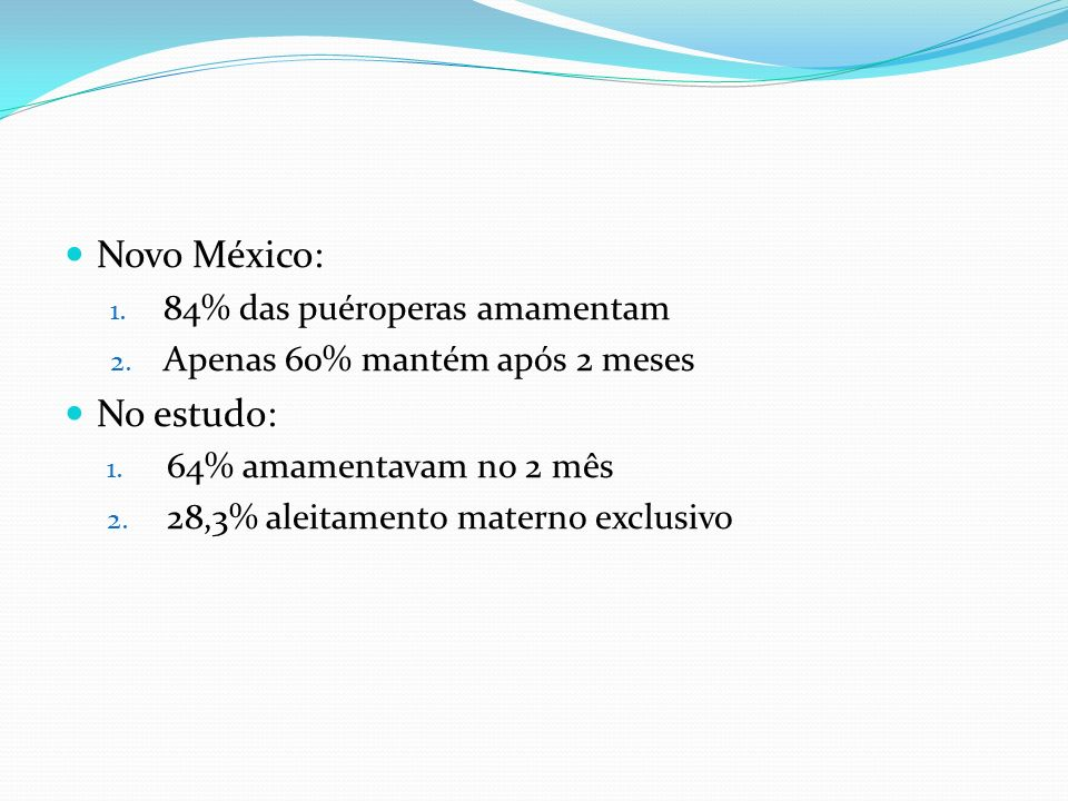 Novo México: No estudo: 84% das puéroperas amamentam