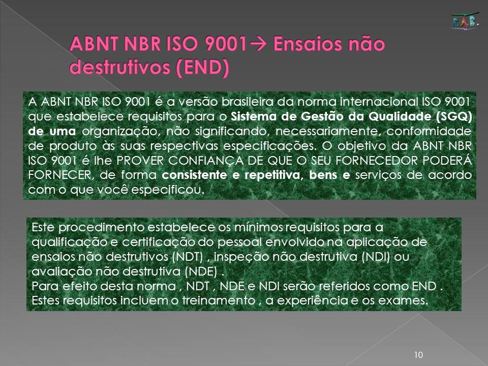 ABNT NBR ISO 9001 Ensaios não destrutivos (END)