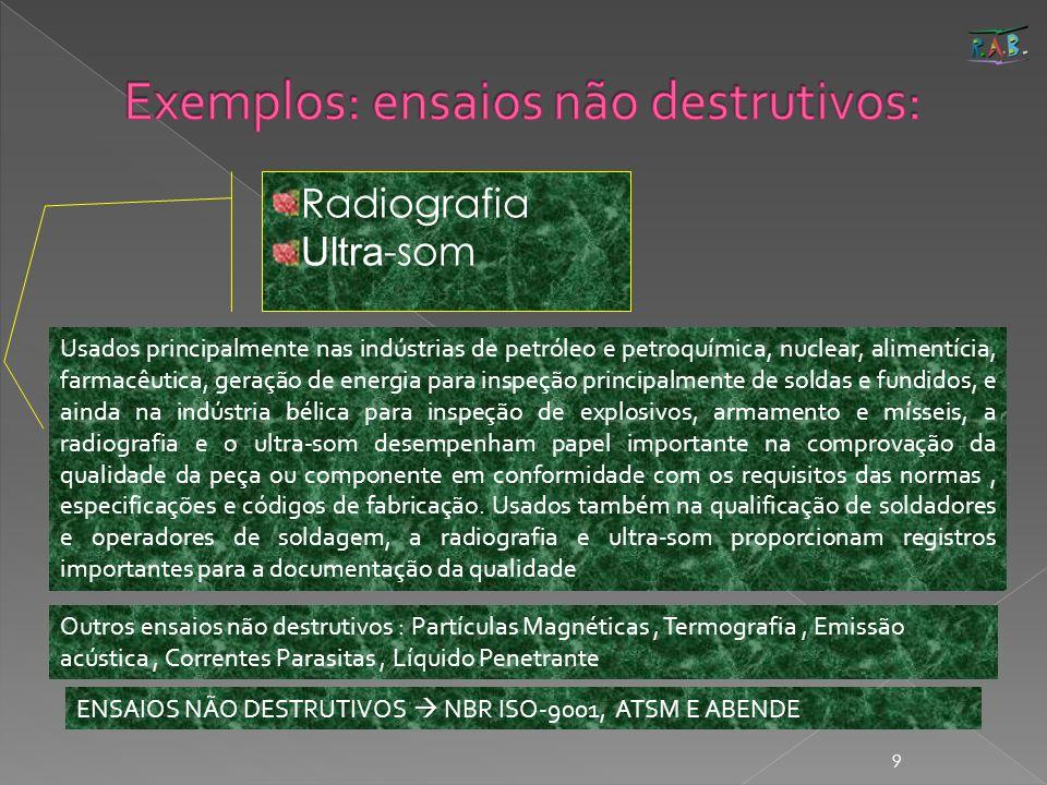 Exemplos: ensaios não destrutivos: