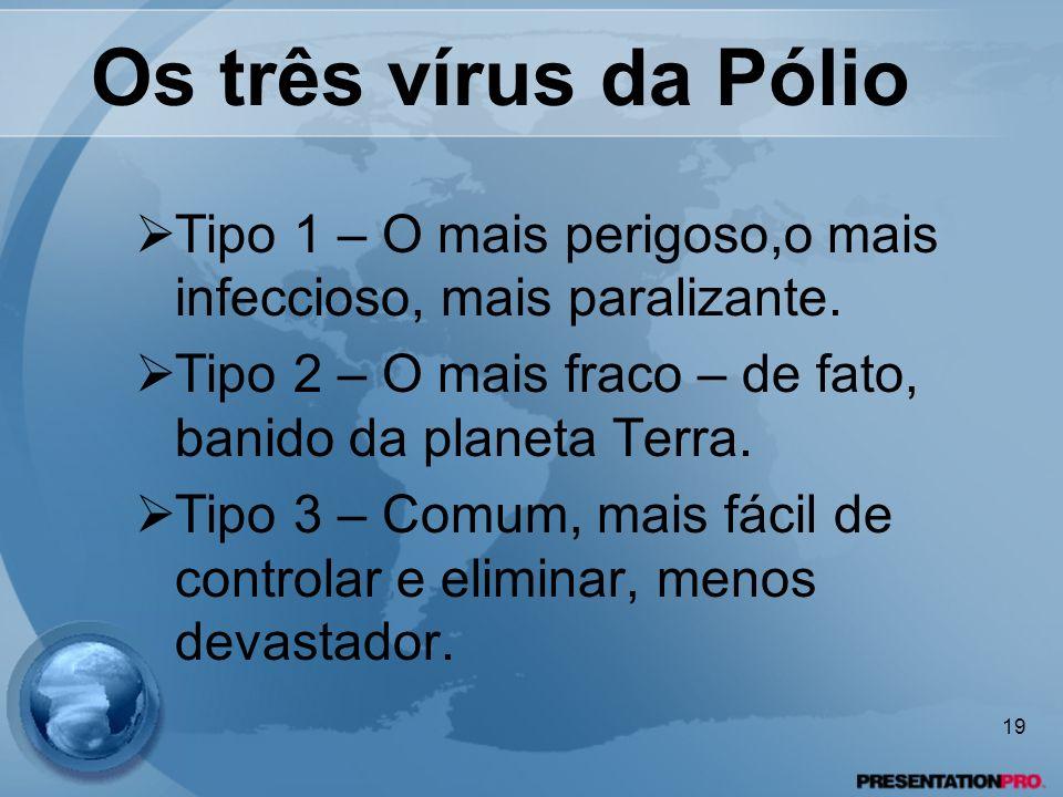 Os três vírus da Pólio Tipo 1 – O mais perigoso,o mais infeccioso, mais paralizante. Tipo 2 – O mais fraco – de fato, banido da planeta Terra.