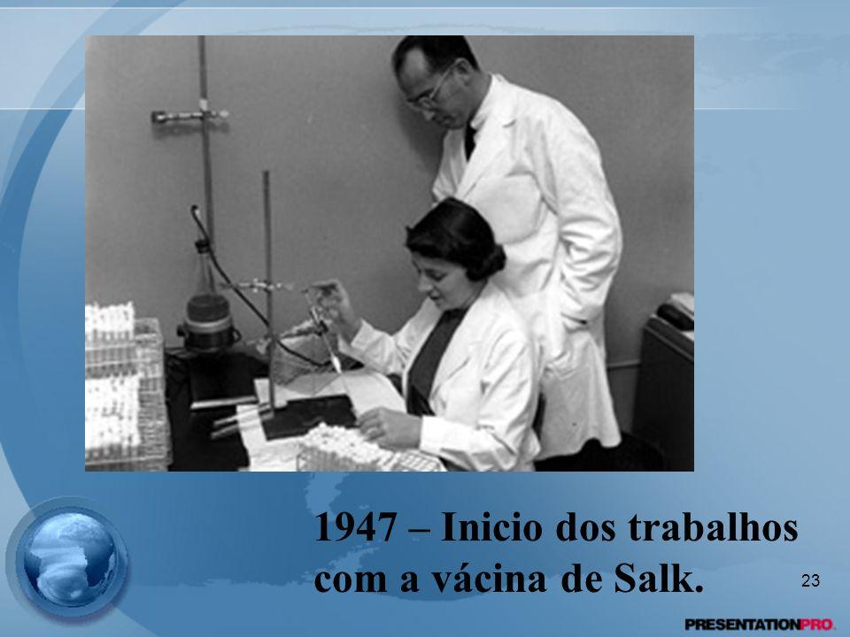 1947 – Inicio dos trabalhos com a vácina de Salk.