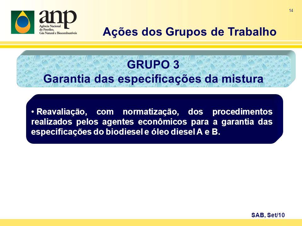 Ações dos Grupos de Trabalho Garantia das especificações da mistura