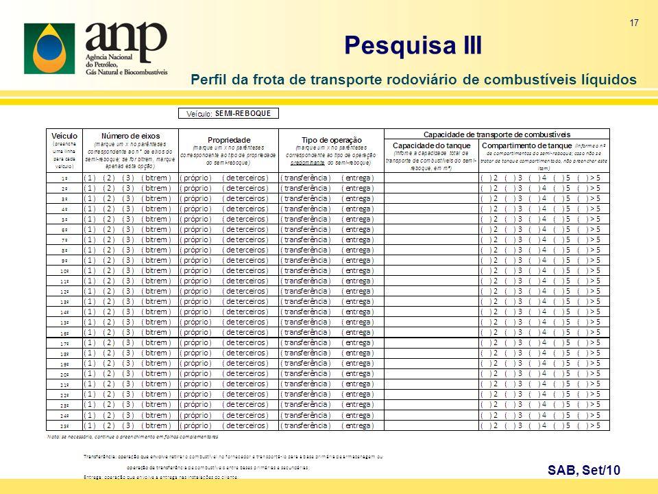 Perfil da frota de transporte rodoviário de combustíveis líquidos