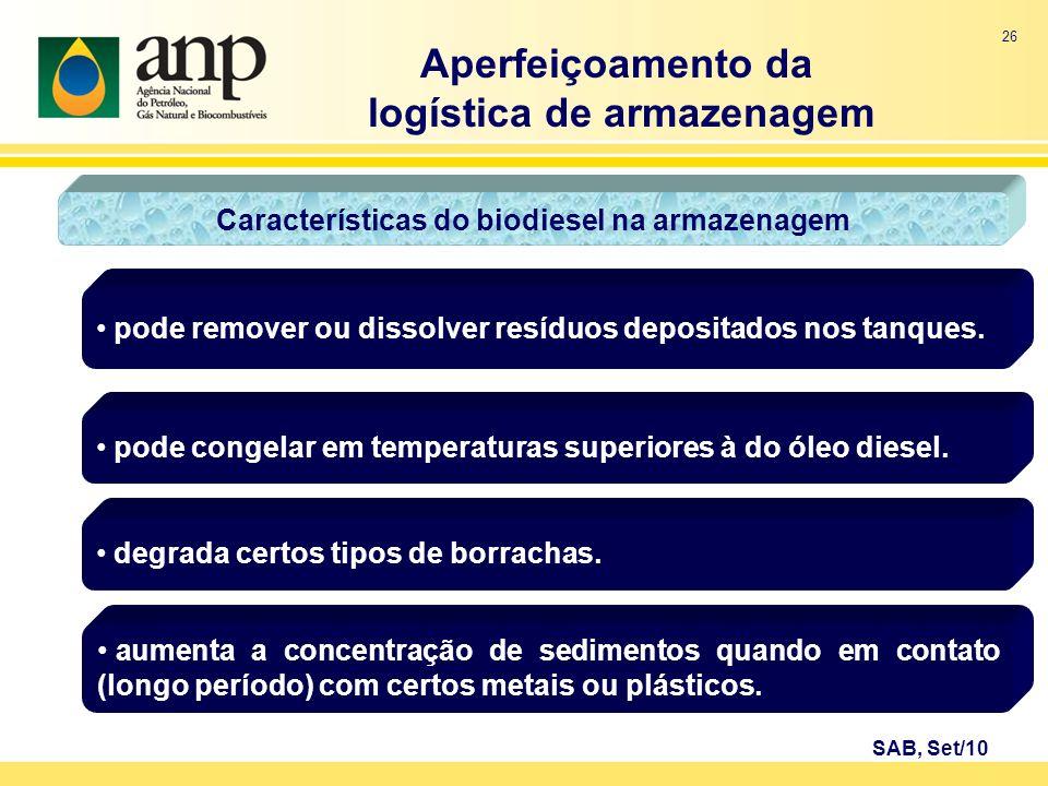 logística de armazenagem Características do biodiesel na armazenagem