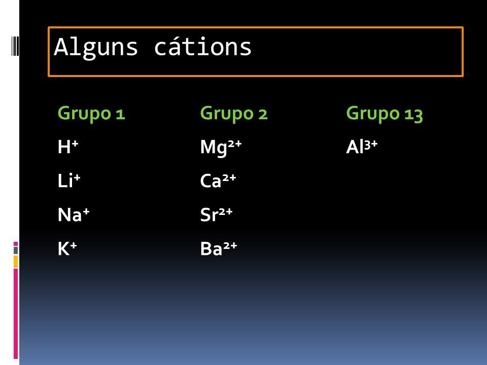 Alguns cátions Grupo 1 Grupo 2 Grupo 13 H+ Mg2+ Al3+ Li+ Ca2+ Na+ Sr2+ K+ Ba2+