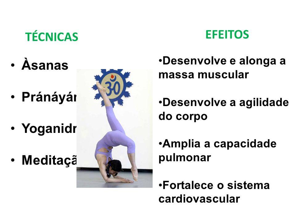 EFEITOS TÉCNICAS Àsanas Pránáyáma Yoganidra Meditação