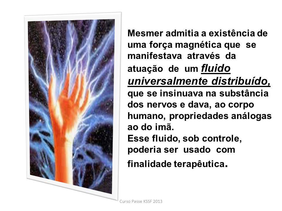 Mesmer admitia a existência de uma força magnética que se manifestava através da atuação de um fluido universalmente distribuído, que se insinuava na substância dos nervos e dava, ao corpo humano, propriedades análogas ao do imã. Esse fluido, sob controle, poderia ser usado com finalidade terapêutica.