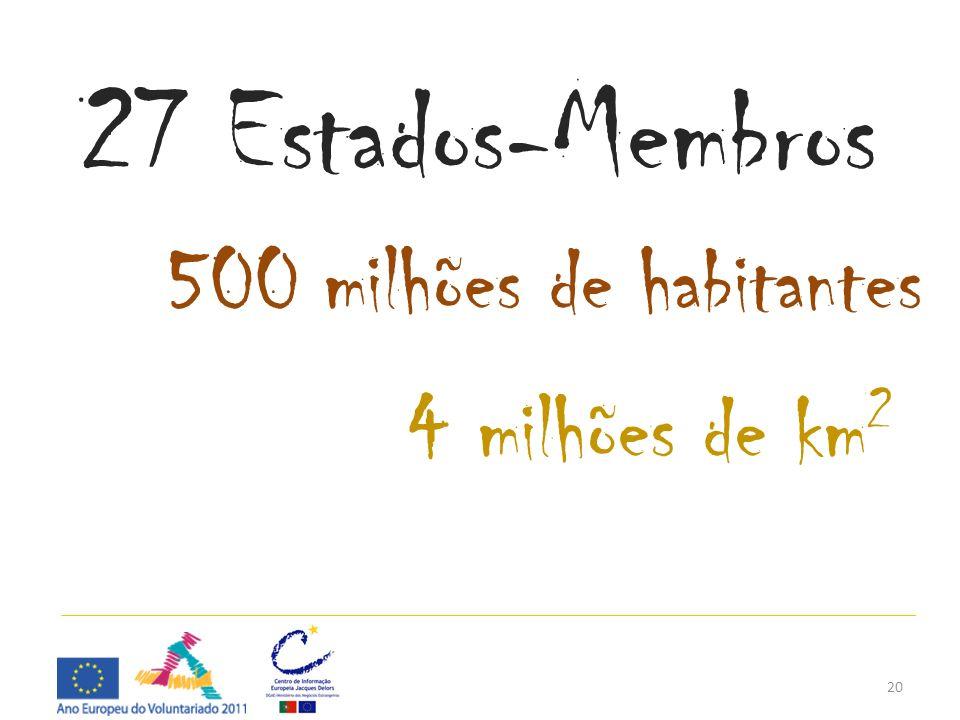 27 Estados-Membros 500 milhões de habitantes 4 milhões de km2