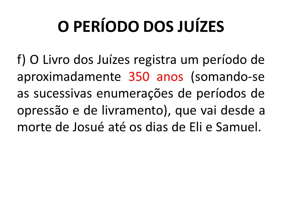 O PERÍODO DOS JUÍZES