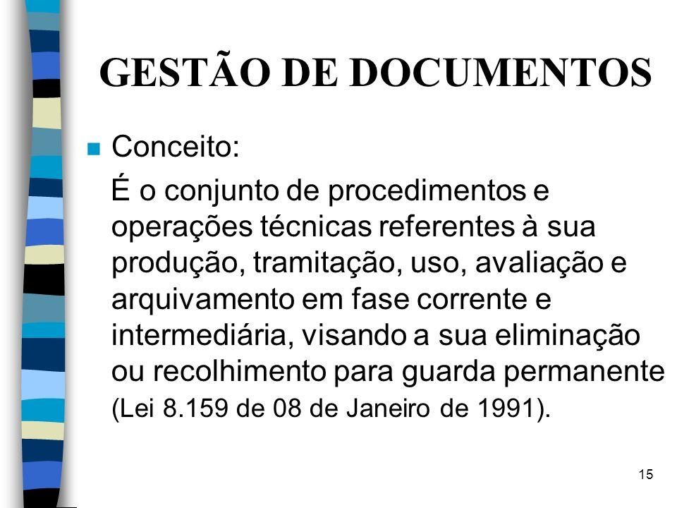 GESTÃO DE DOCUMENTOS Conceito: