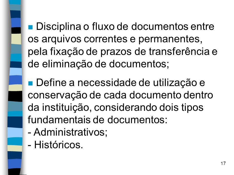 Disciplina o fluxo de documentos entre os arquivos correntes e permanentes, pela fixação de prazos de transferência e de eliminação de documentos;