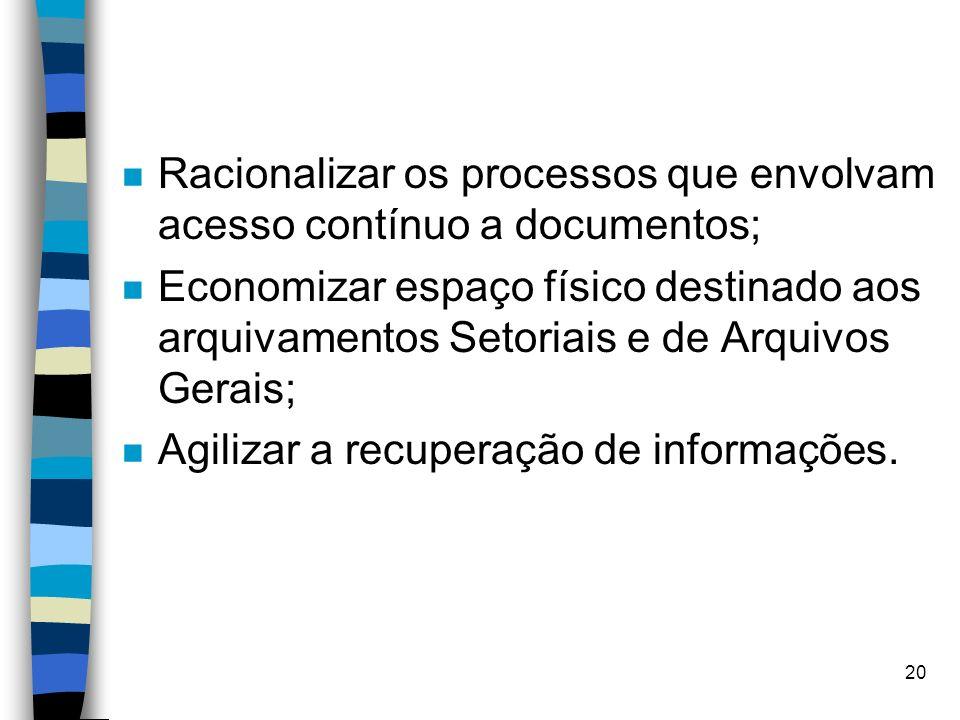 Racionalizar os processos que envolvam acesso contínuo a documentos;