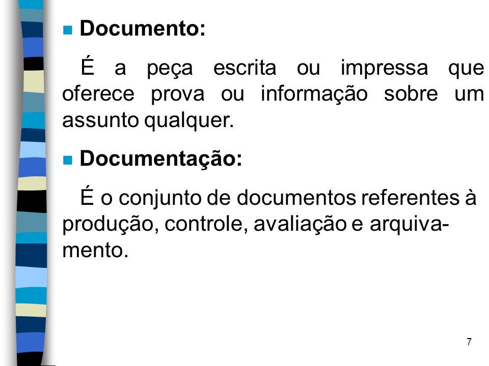 Documento: É a peça escrita ou impressa que oferece prova ou informação sobre um assunto qualquer.