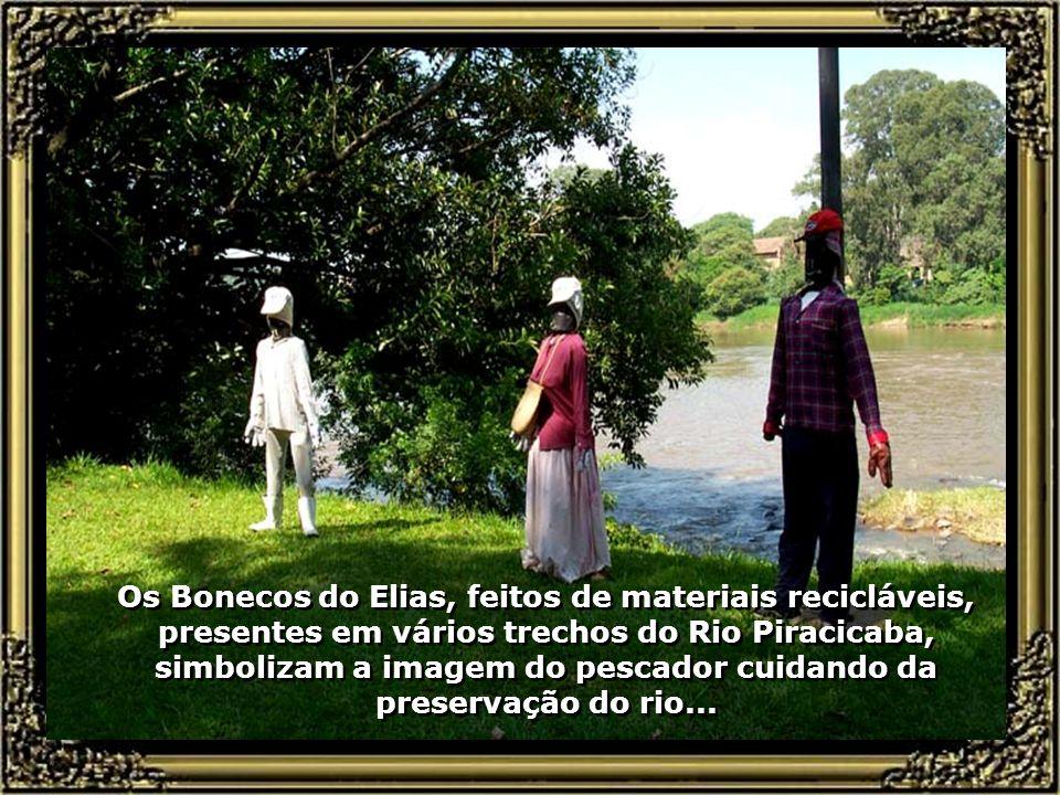 Os Bonecos do Elias, feitos de materiais recicláveis, presentes em vários trechos do Rio Piracicaba, simbolizam a imagem do pescador cuidando da preservação do rio...