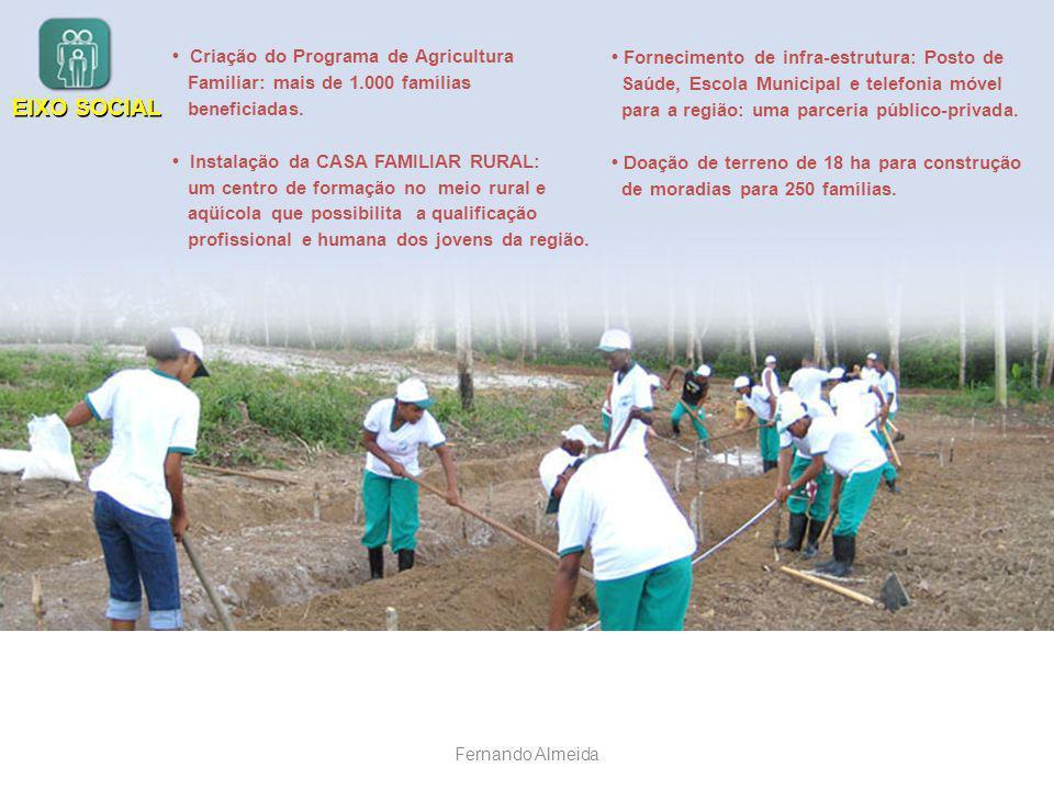 • Criação do Programa de Agricultura Familiar: mais de 1