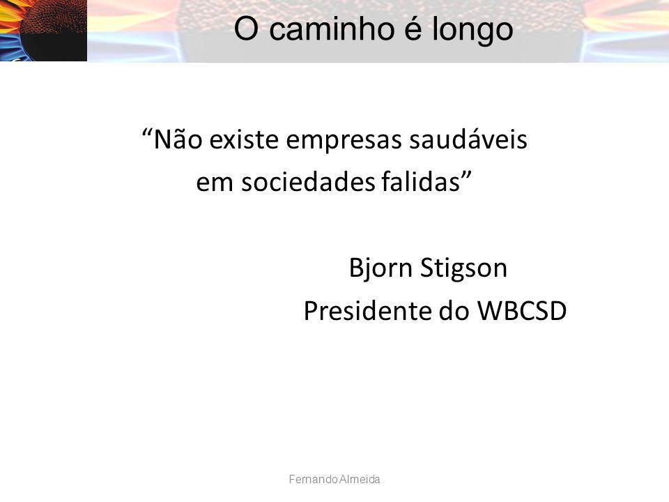O caminho é longo Não existe empresas saudáveis em sociedades falidas Bjorn Stigson Presidente do WBCSD