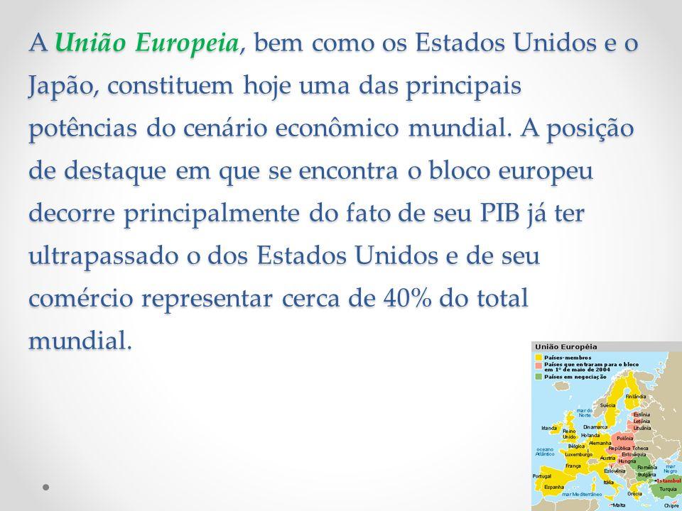 A União Europeia, bem como os Estados Unidos e o Japão, constituem hoje uma das principais potências do cenário econômico mundial.