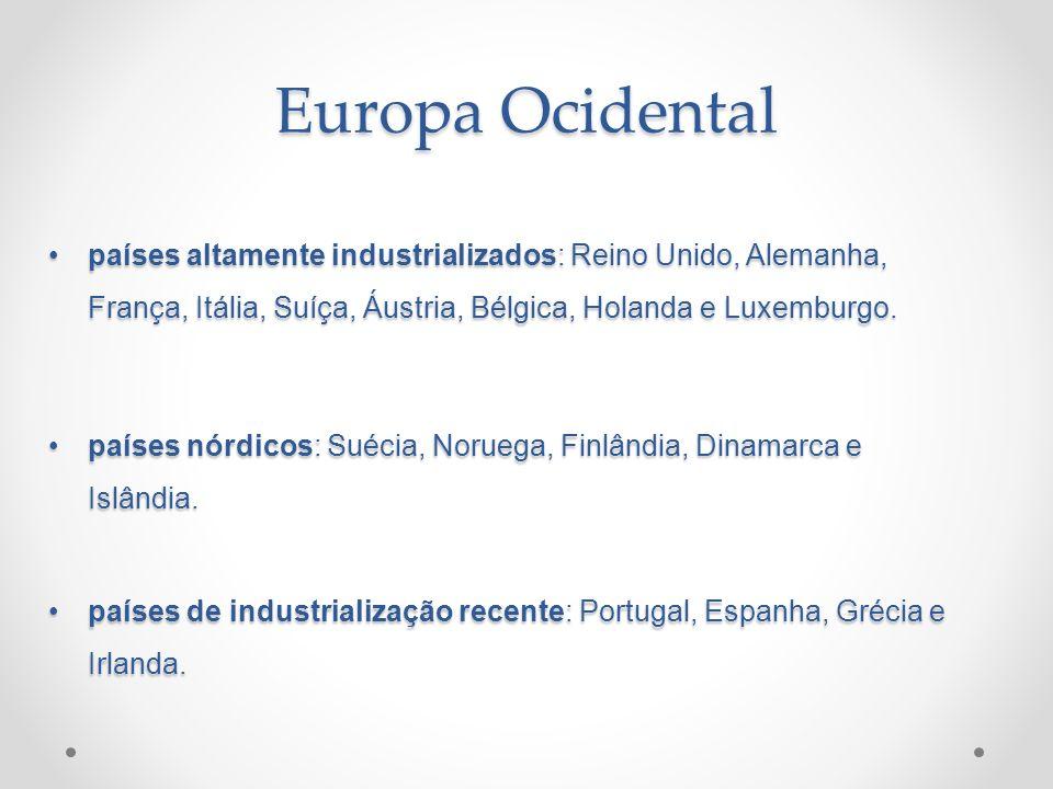 Europa Ocidental países altamente industrializados: Reino Unido, Alemanha, França, Itália, Suíça, Áustria, Bélgica, Holanda e Luxemburgo.