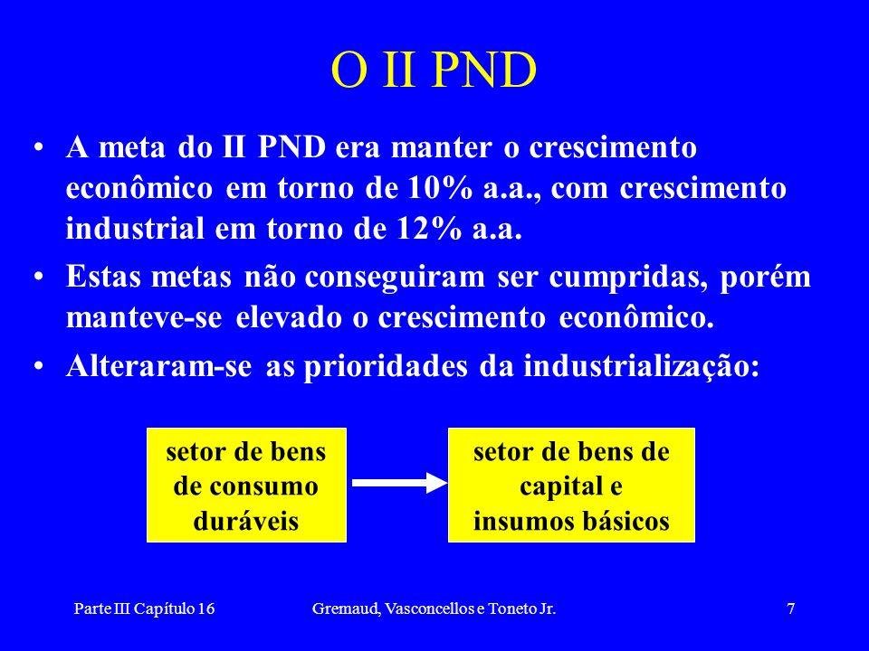 O II PND A meta do II PND era manter o crescimento econômico em torno de 10% a.a., com crescimento industrial em torno de 12% a.a.