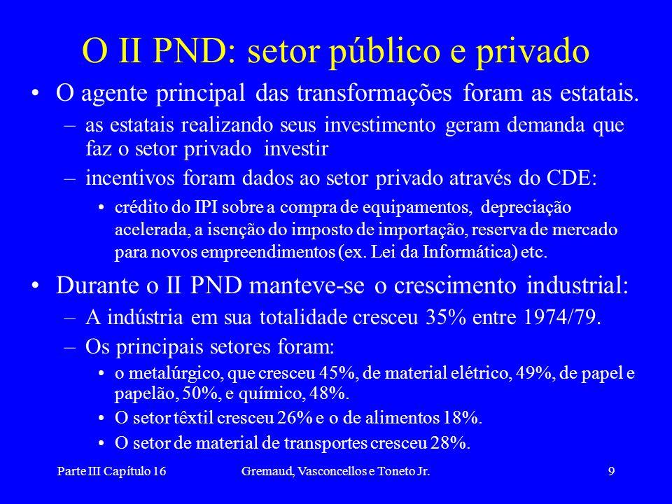 O II PND: setor público e privado