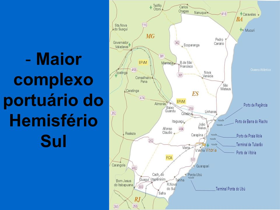 - Maior complexo portuário do Hemisfério Sul