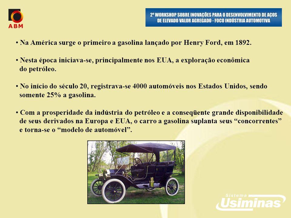 Na América surge o primeiro a gasolina lançado por Henry Ford, em 1892.