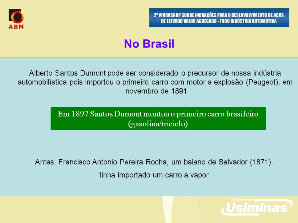 No Brasil Alberto Santos Dumont pode ser considerado o precursor de nossa indústria.
