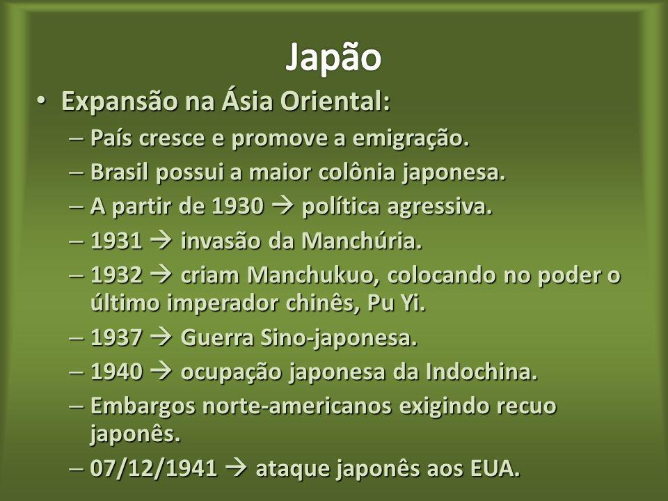 Japão Expansão na Ásia Oriental: País cresce e promove a emigração.