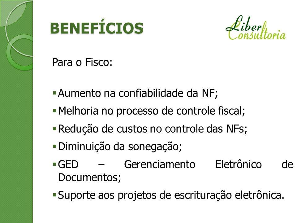 BENEFÍCIOS Para o Fisco: Aumento na confiabilidade da NF;