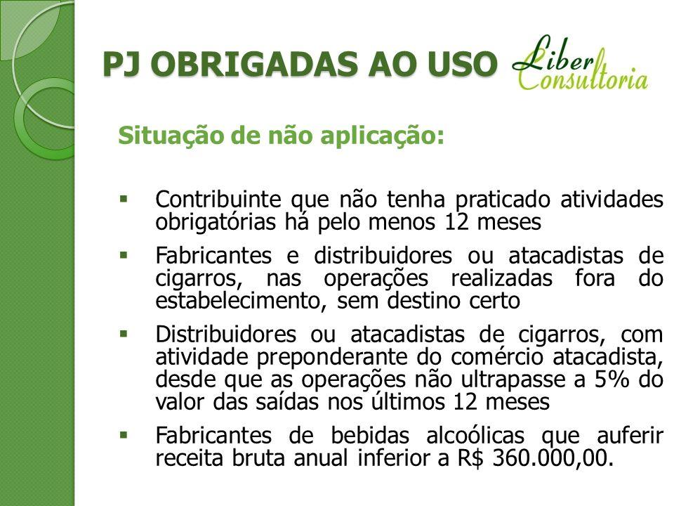 PJ OBRIGADAS AO USO Situação de não aplicação: