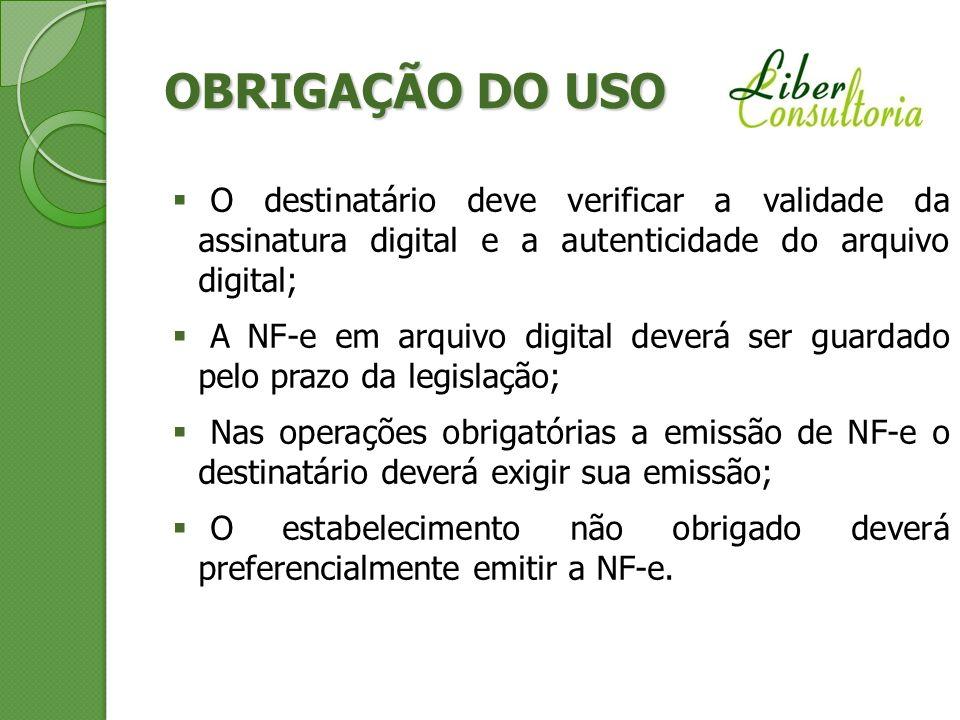 OBRIGAÇÃO DO USO O destinatário deve verificar a validade da assinatura digital e a autenticidade do arquivo digital;