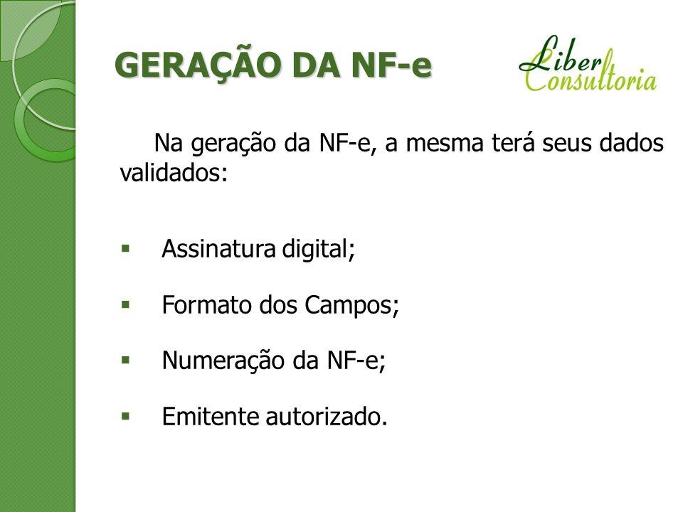 GERAÇÃO DA NF-e Na geração da NF-e, a mesma terá seus dados validados:
