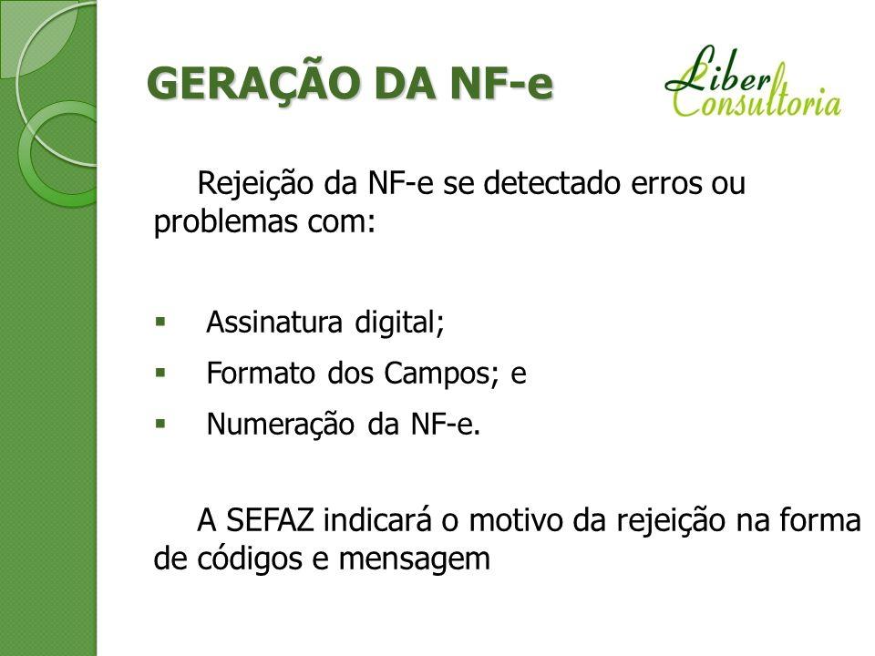 GERAÇÃO DA NF-e Rejeição da NF-e se detectado erros ou problemas com: