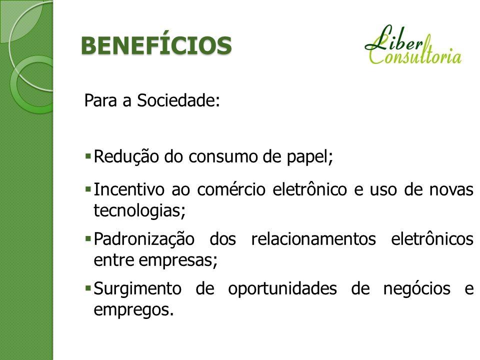 BENEFÍCIOS Para a Sociedade: Redução do consumo de papel;