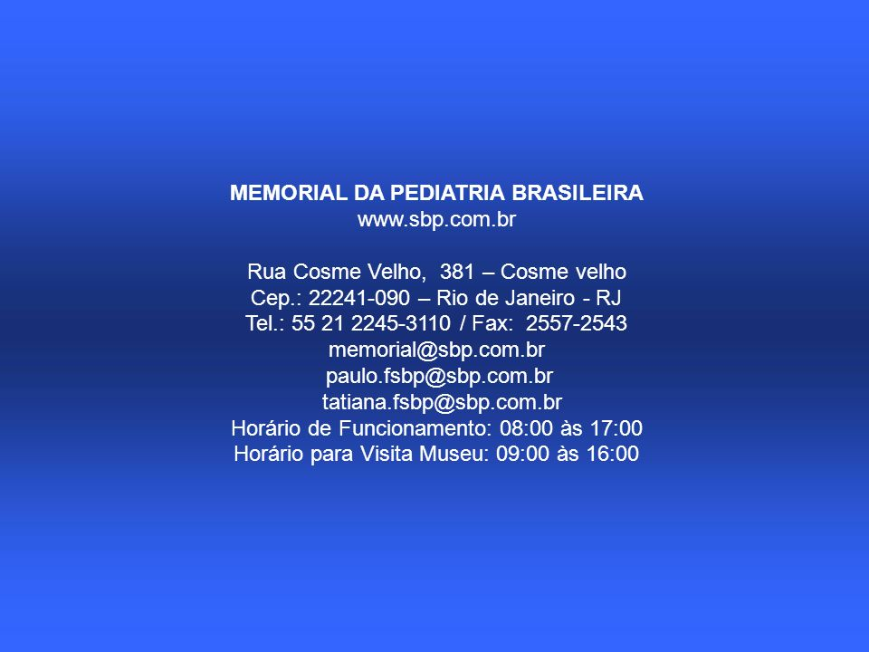 MEMORIAL DA PEDIATRIA BRASILEIRA