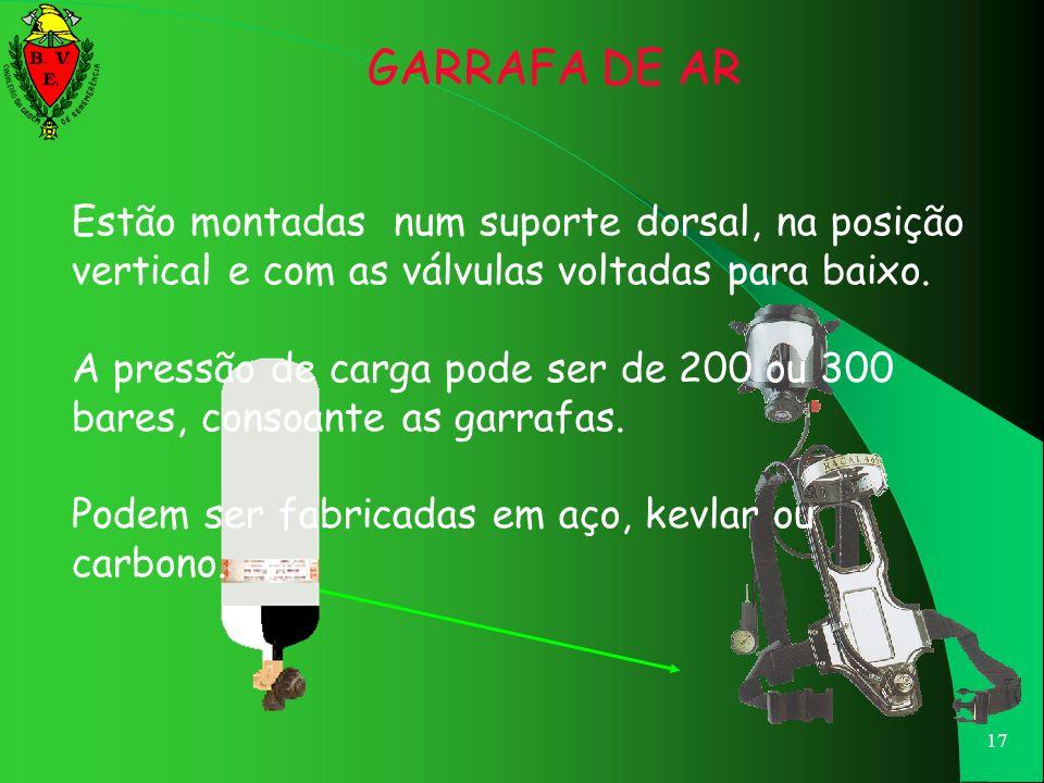 GARRAFA DE AR Estão montadas num suporte dorsal, na posição vertical e com as válvulas voltadas para baixo.