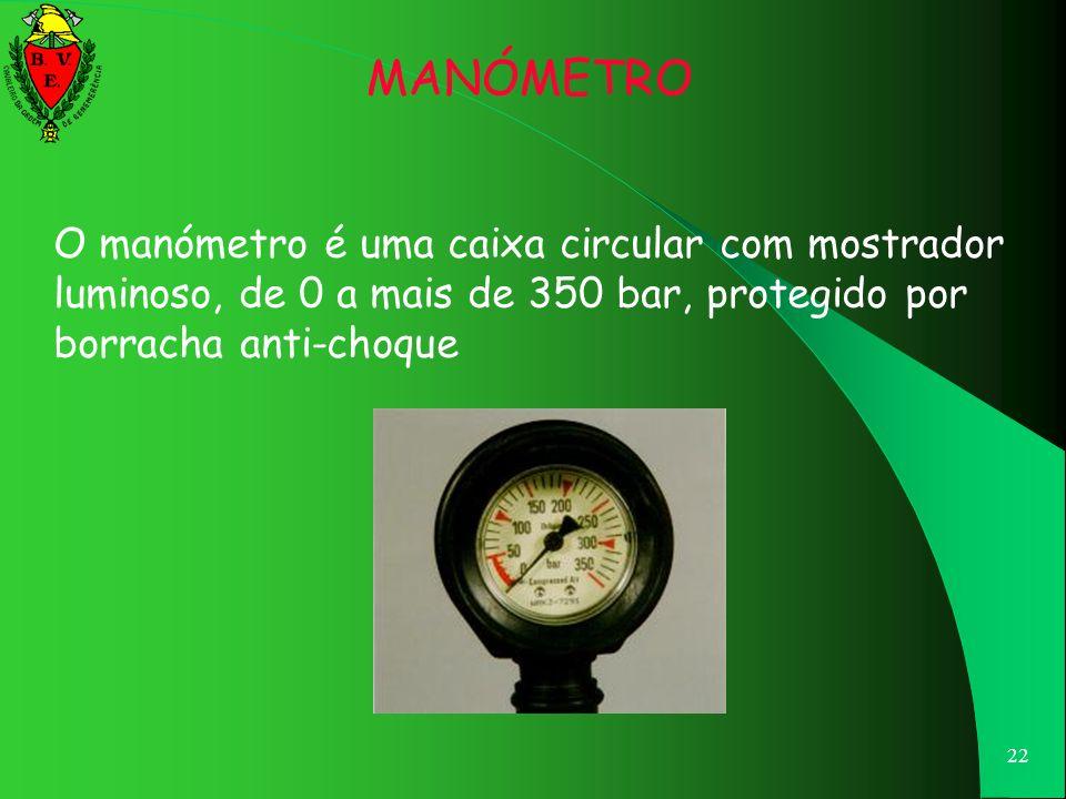 MANÓMETRO O manómetro é uma caixa circular com mostrador luminoso, de 0 a mais de 350 bar, protegido por borracha anti-choque.