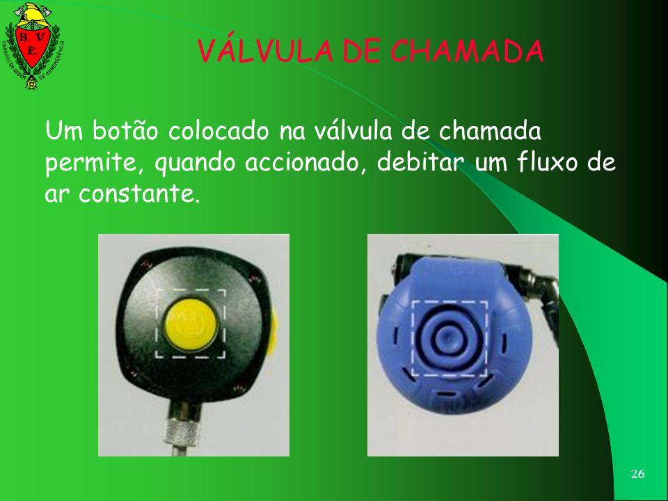 VÁLVULA DE CHAMADA Um botão colocado na válvula de chamada permite, quando accionado, debitar um fluxo de ar constante.