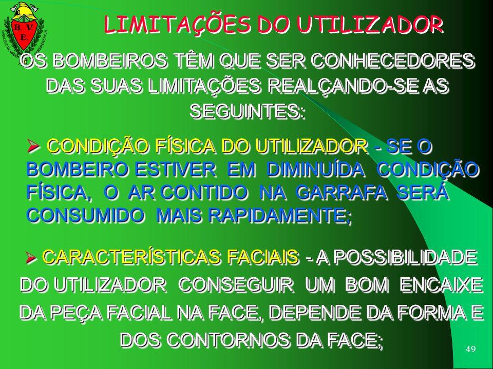 LIMITAÇÕES DO UTILIZADOR