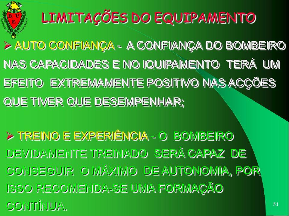 LIMITAÇÕES DO EQUIPAMENTO