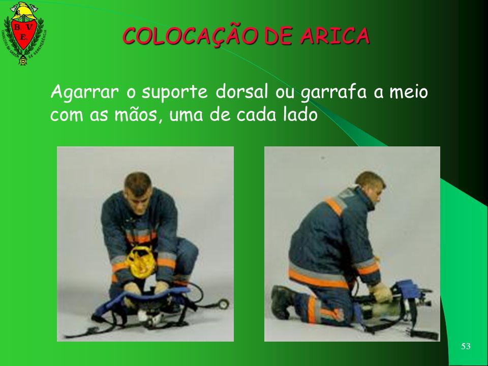 COLOCAÇÃO DE ARICA Agarrar o suporte dorsal ou garrafa a meio com as mãos, uma de cada lado