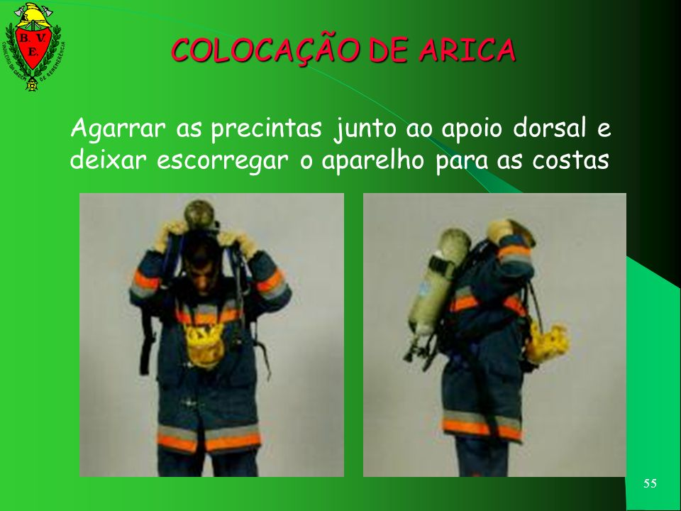 COLOCAÇÃO DE ARICA Agarrar as precintas junto ao apoio dorsal e deixar escorregar o aparelho para as costas.