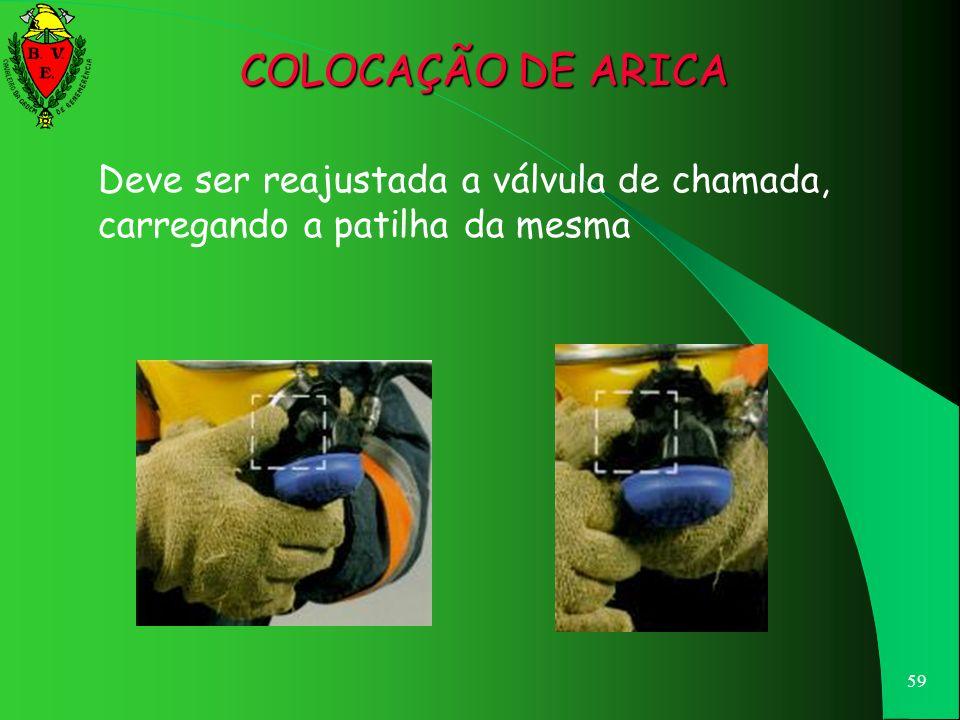COLOCAÇÃO DE ARICA Deve ser reajustada a válvula de chamada, carregando a patilha da mesma