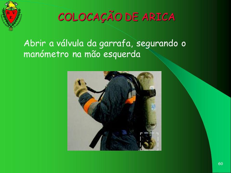 COLOCAÇÃO DE ARICA Abrir a válvula da garrafa, segurando o manómetro na mão esquerda