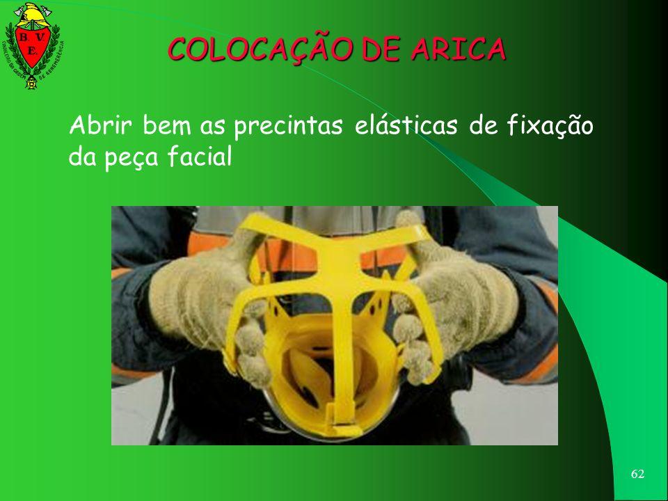 COLOCAÇÃO DE ARICA Abrir bem as precintas elásticas de fixação da peça facial